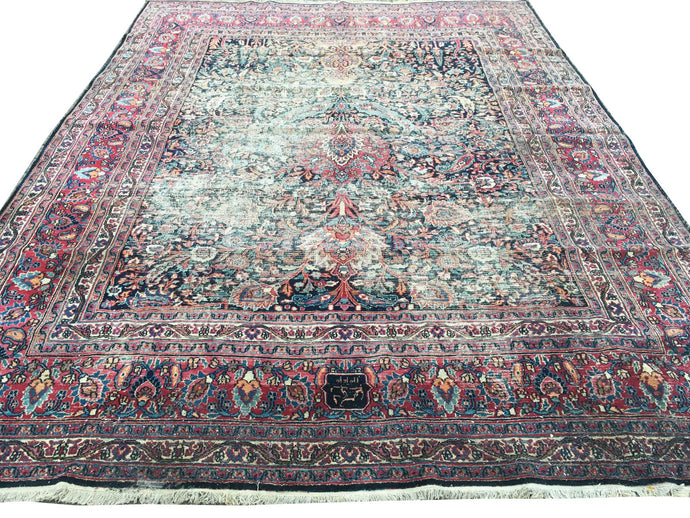 Dorokhsh 12 x 9 ft distressed worn antique persian rug