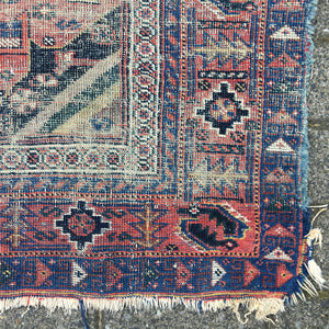 Afshar distressed rug worn Vintage carpet