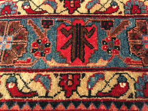 Persian Antique Rug 10 x 7 ft worn distressed industrial Heriz style red pink blue black wool