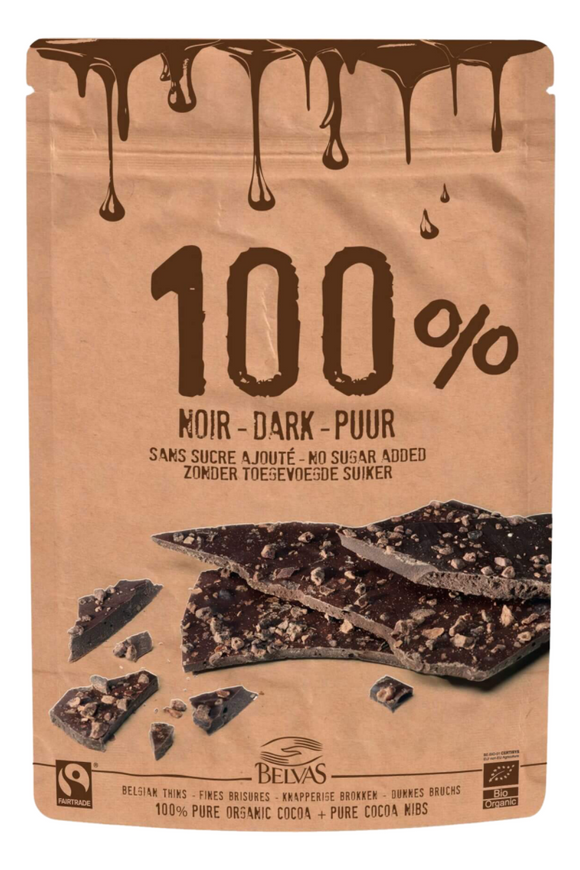 BELVAS Organic 100% Belgian Dark Chocolate Thins (80g)
