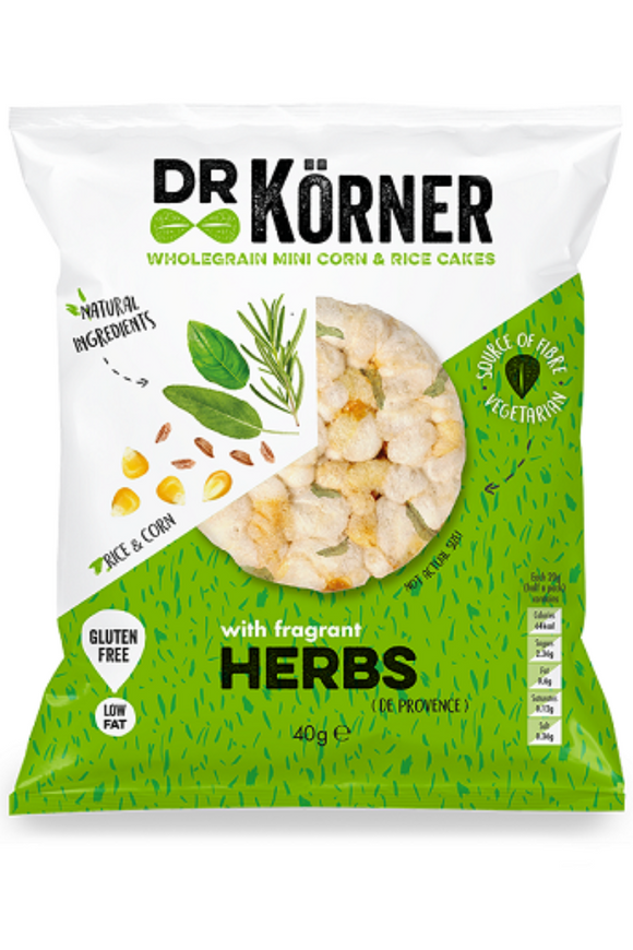 DR KORNER Mini Corn & Rice Cakes with Fragrant Herbs (40g)