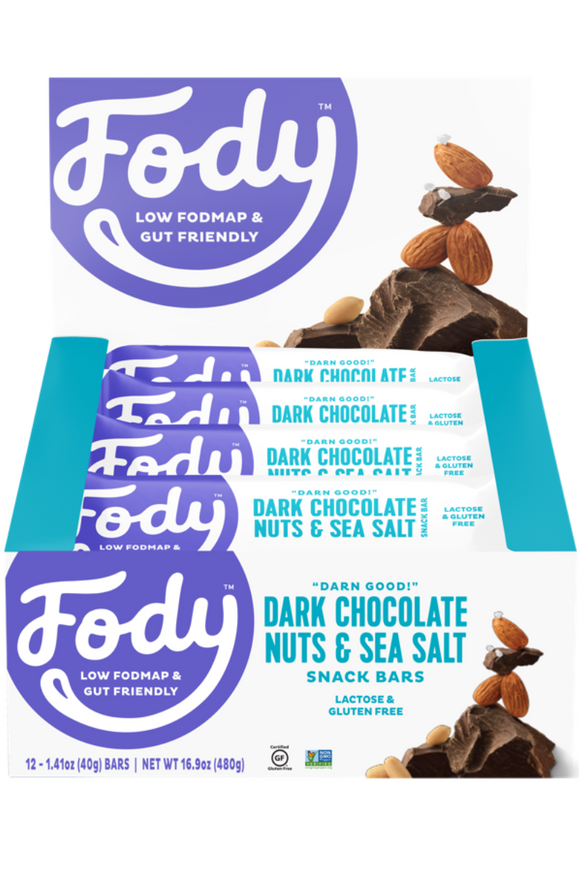 FODY Dark Chocolate, Nuts & Sea Salt Bar (40g) x 12 bars