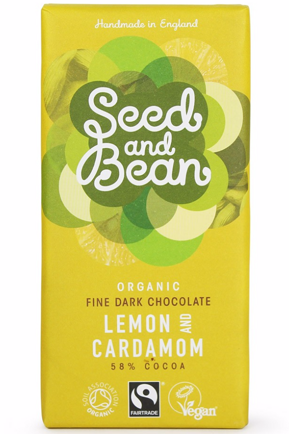 SEED AND BEAN Lemon & Cardamom DARK CHOCOLATE BAR