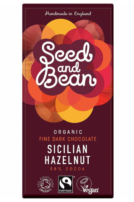 SEED AND BEAN Sicilian Hazelnut DARK CHOCOLATE BAR