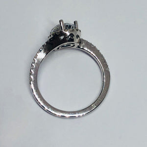 Lady's White 14 Karat Split Twist Band Engagement Ring