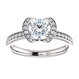 Round Bezel-Set Halo-Style Engagement Ring