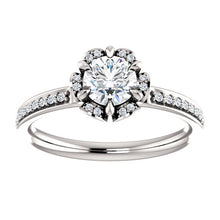 Round Floral-Inspired Engagement Ring