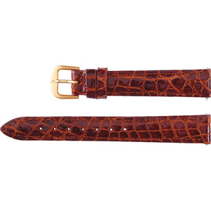 14mm Regular Cognac Genuine Crocodile Padded Watch Strap