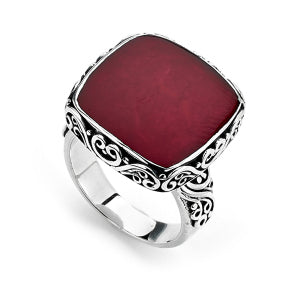 Sterling Silver Red Balinese Design Ring