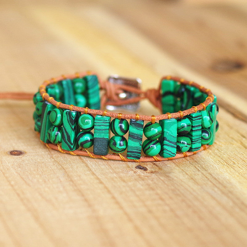 Grand Bracelet Bohème en Malachite - Boutique Namaste