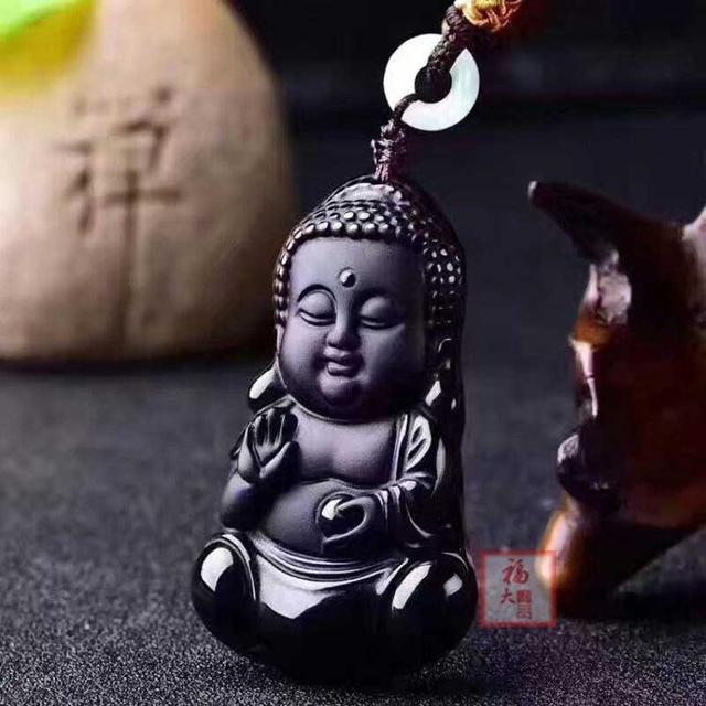 Collier en Obsidienne Noire - Bouddha Protection - Boutique Namaste