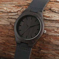 Montre en bambou naturel All Black - Boutique Namaste