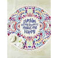 Serviette de plage ronde - I'm Happy ! - Boutique Namaste