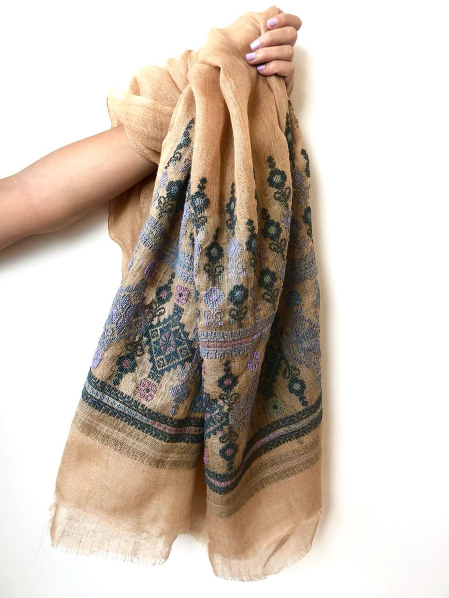 Ivory and Pale Blue Najaf Shawl