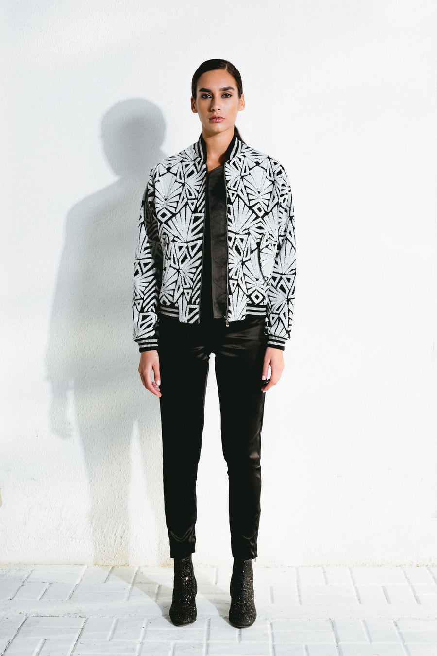 B/W Geometric Sequin Bomber Jacket