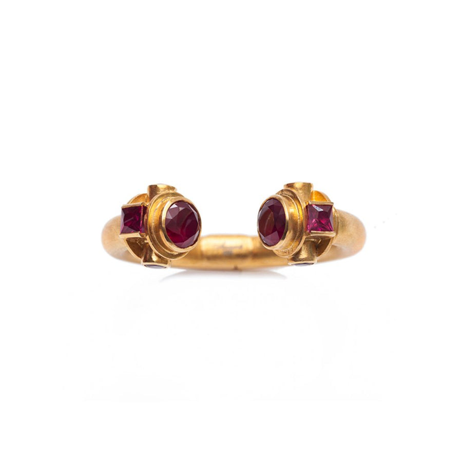 Sa'mma Vermeil Gold Cuff with Ruby Jade