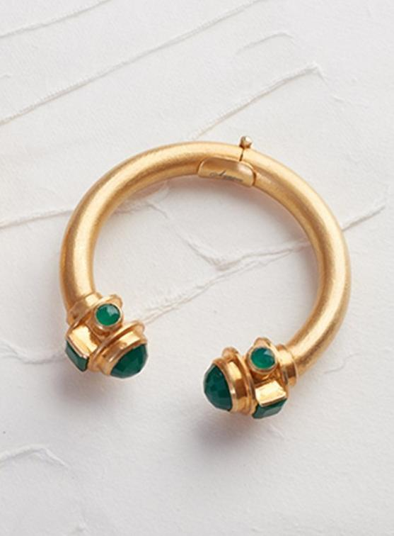 Sa'mma Vermeil Gold Cuff with Natural Green Jade
