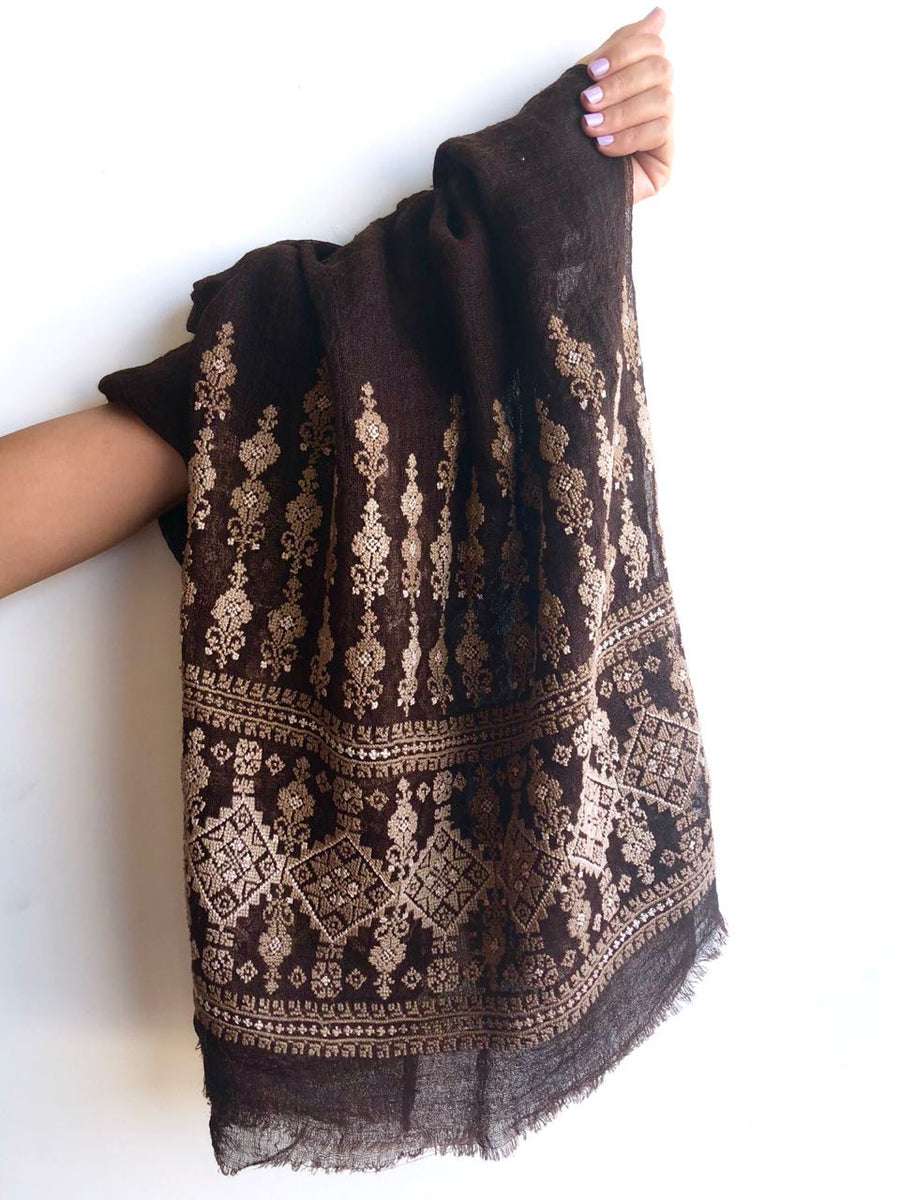 Black and Light Brown Najaf Shawl