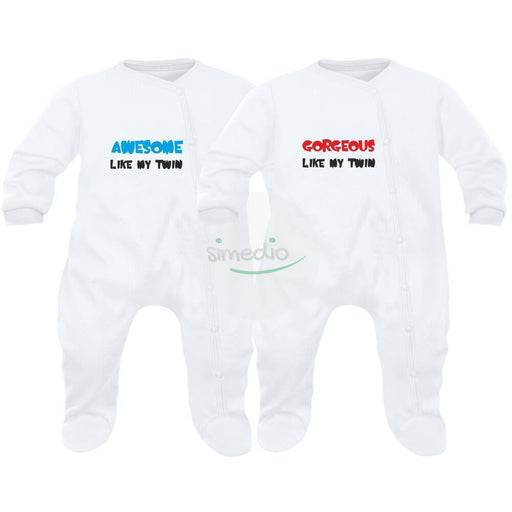 2 pyjamas bébé jumeaux : AWESOME like my twin / GORGEOUS like my twin, , , - SiMEDIO