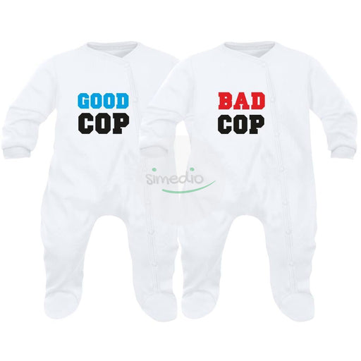 2 pyjamas bébé jumeaux : GOOD cop / BAD cop, , , - SiMEDIO