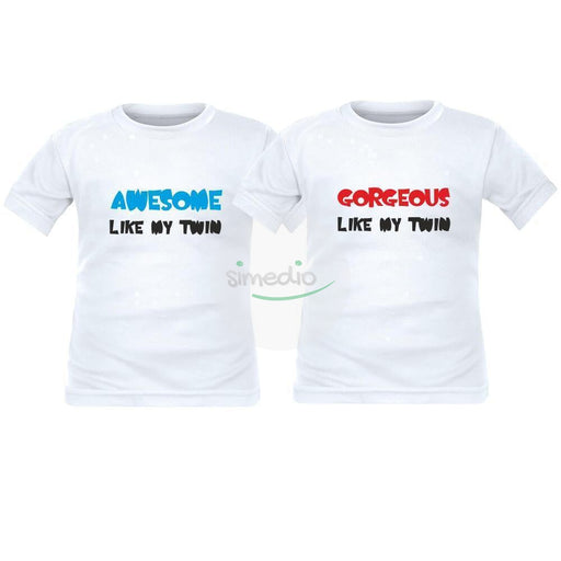 2 tee shirts enfant jumeaux : AWESOME / GORGEOUS like my twin, , , - SiMEDIO