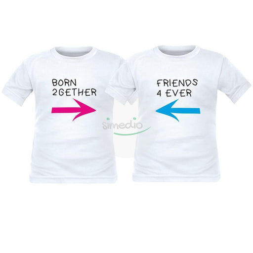2 tee shirts enfant jumeaux : BORN 2gether / FRIENDS 4 ever, , , - SiMEDIO