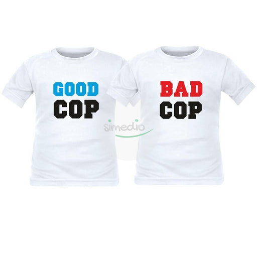 2 tee shirts enfant jumeaux : GOOD cop / BAD cop, , , - SiMEDIO