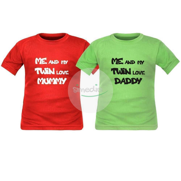 2 tee shirts enfant jumeaux : me and my twin love MUMMY / DADDY, , , - SiMEDIO
