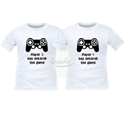 2 tee shirts enfant jumeaux : PLAYER 3 / PLAYER 4 has entered the game, , , - SiMEDIO