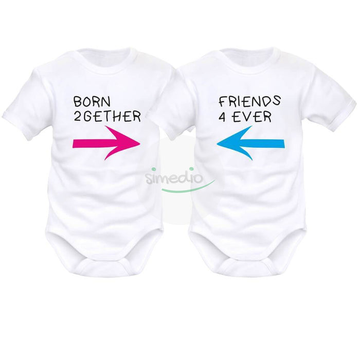2 x body bébé jumeaux : born 2GETHER / friends 4 EVER, , , - SiMEDIO