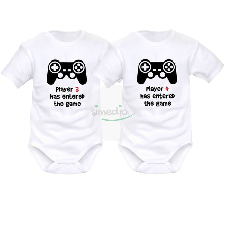 2 x body bébé jumeaux geek : PLAYER 3 / PLAYER 4 has entered the game, , , - SiMEDIO