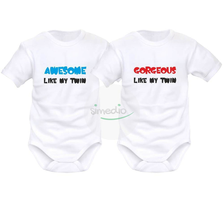 2 x body bébé jumeaux personnalisé : AWESOME / GORGEOUS like my twin, , , - SiMEDIO