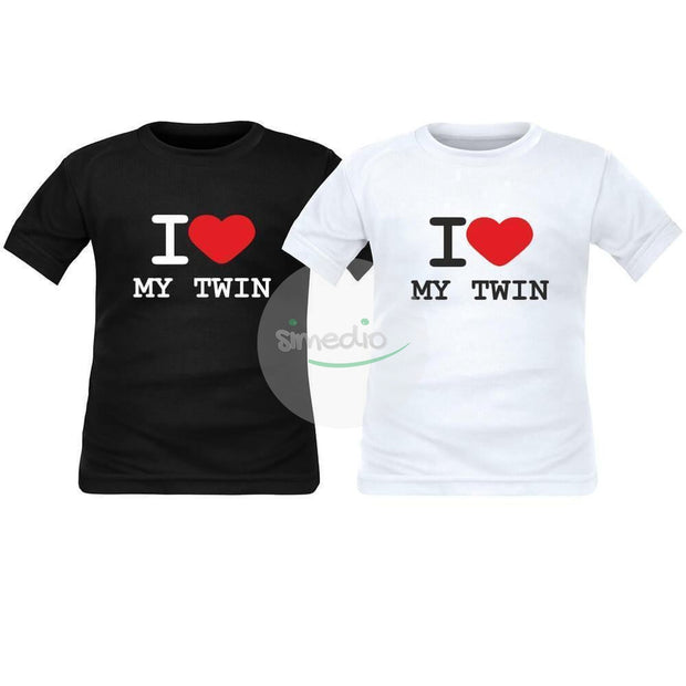 2 x tee shirt enfant jumeaux : I love my TWIN, , , - SiMEDIO