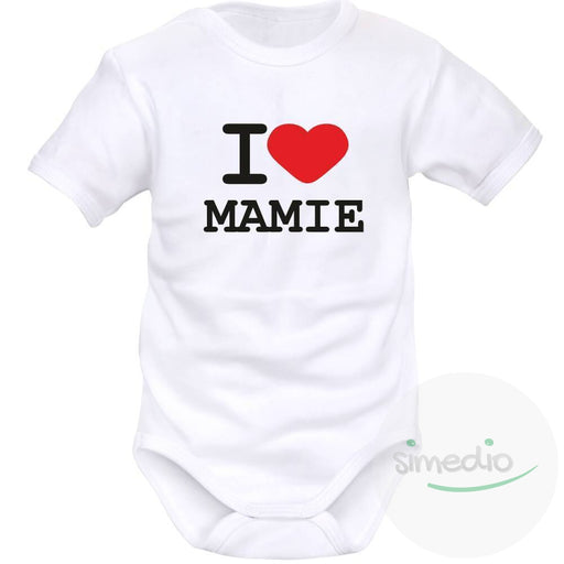 Body bébé avec inscription : I LOVE MAMIE, , , - SiMEDIO