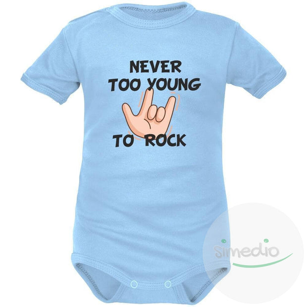 Body bébé imprimé : NEVER TOO YOUNG TO ROCK, Bleu, Courtes, 0-1 mois - SiMEDIO