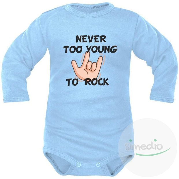 Body bébé imprimé : NEVER TOO YOUNG TO ROCK, Bleu, Longues, 0-1 mois - SiMEDIO
