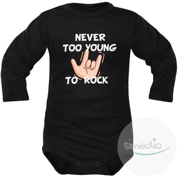 Body bébé imprimé : NEVER TOO YOUNG TO ROCK, Noir, Longues, 0-1 mois - SiMEDIO