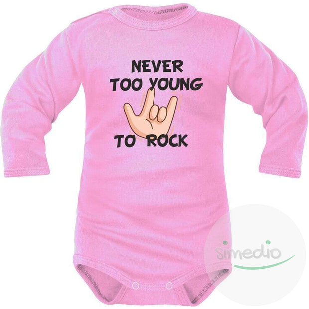 Body bébé imprimé : NEVER TOO YOUNG TO ROCK, Rose, Longues, 0-1 mois - SiMEDIO