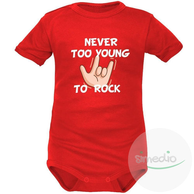 Body bébé imprimé : NEVER TOO YOUNG TO ROCK, Rouge, Courtes, 0-1 mois - SiMEDIO
