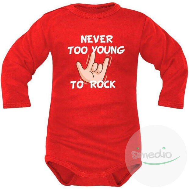 Body bébé imprimé : NEVER TOO YOUNG TO ROCK, Rouge, Longues, 0-1 mois - SiMEDIO