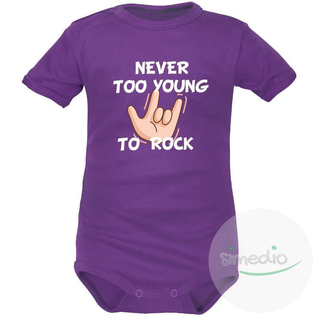 Body bébé imprimé : NEVER TOO YOUNG TO ROCK, Violet, Courtes, 0-1 mois - SiMEDIO