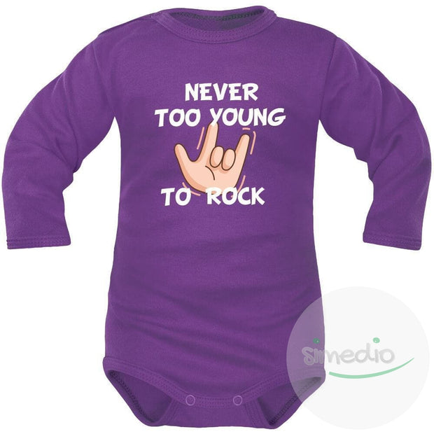 Body bébé imprimé : NEVER TOO YOUNG TO ROCK, Violet, Longues, 0-1 mois - SiMEDIO