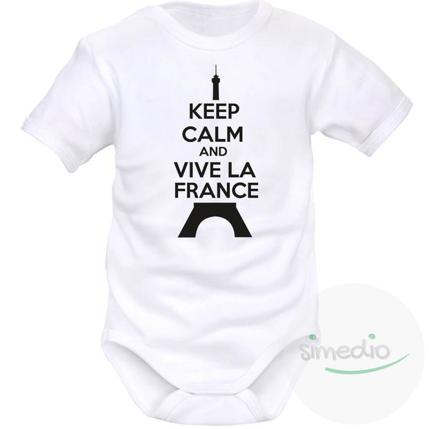 Body bébé Keep Calm and Vive la France (8 couleurs), , , - SiMEDIO