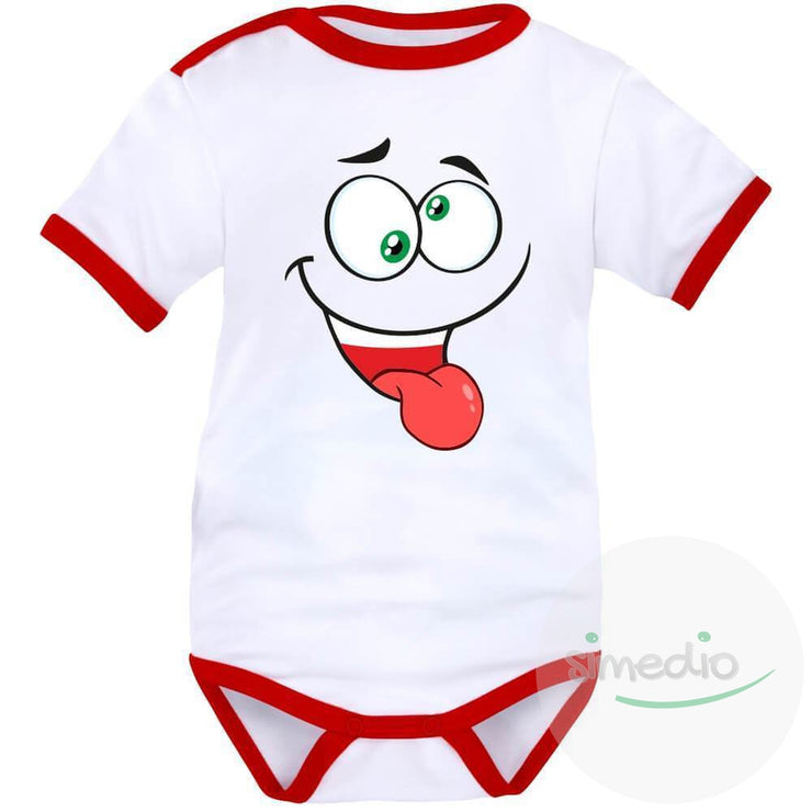 Body bébé rigolo : FRIMOUSSE folle, Blanc avec bords rouges, Courtes, - SiMEDIO