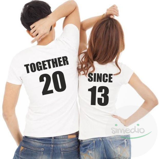 Lot de 2 T-shirts pour amoureux à personnaliser : TOGETHER SINCE..., , , - SiMEDIO