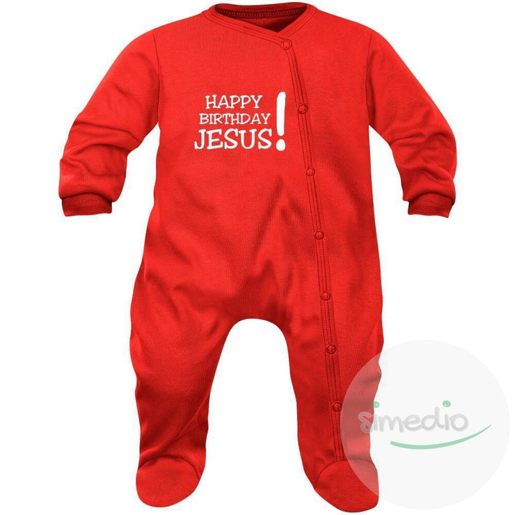 Pyjama bébé Noël : HAPPY BIRTHDAY JESUS! (7 couleurs), , , - SiMEDIO