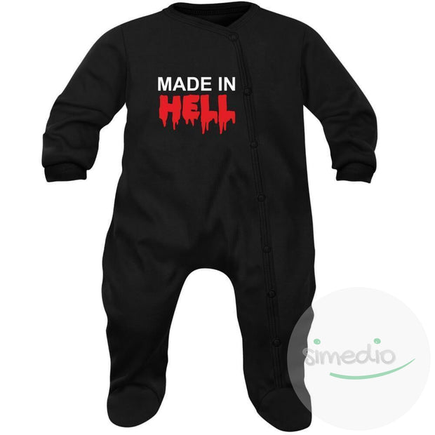 Pyjama bébé rigolo : MADE IN HELL, , , - SiMEDIO