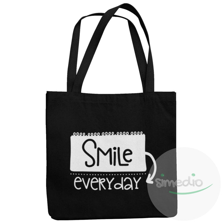 Sac tote bag original : SMILE everyday, Noir, , - SiMEDIO