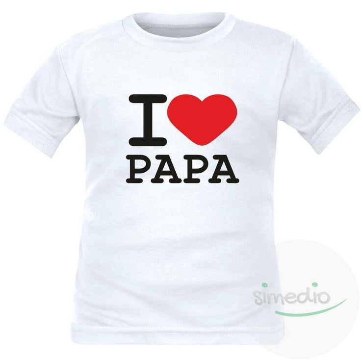 T-shirt enfant avec inscription : I love PAPA, , , - SiMEDIO