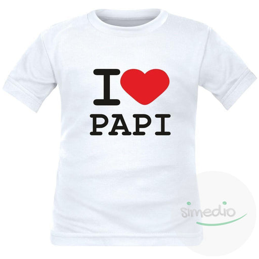 T-shirt enfant avec inscription : I love PAPI, , , - SiMEDIO